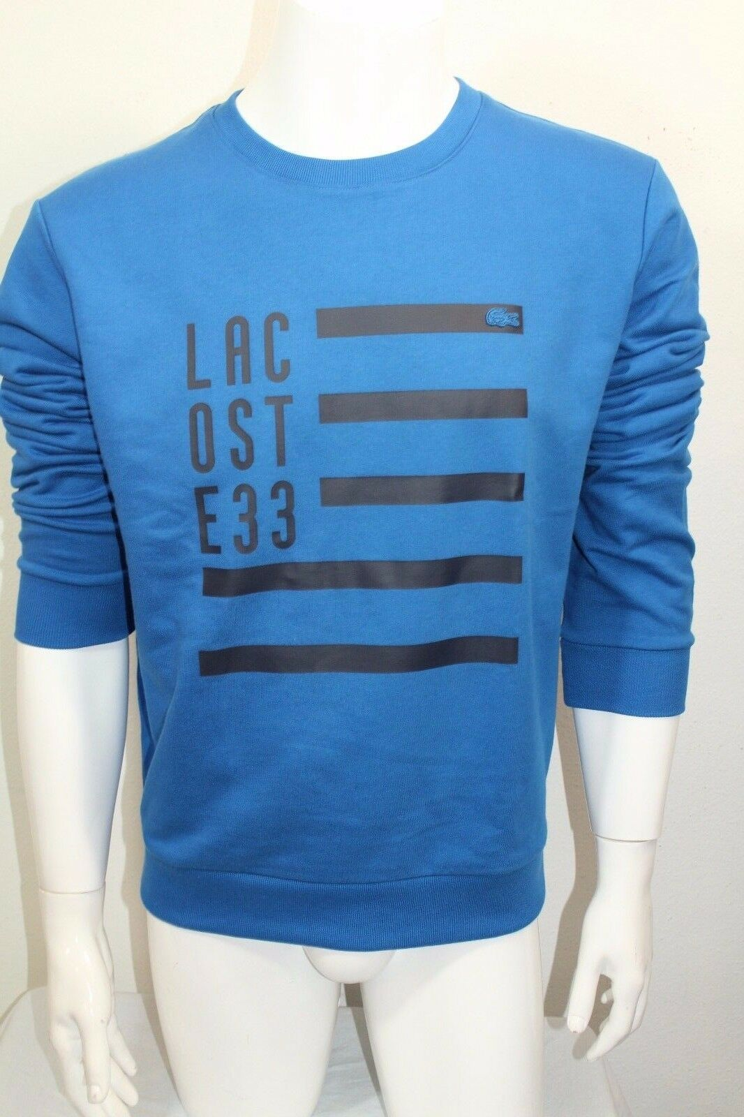 Lacoste 33 Men's Crew Sweater Shirt Long Sleeve color bluee Sz 7=XLarge NWT