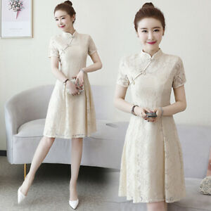 Women-039-s-Lace-Dress-Short-Sleeve-Slim-Embroidery-Cheongsam-Sundress-M-4XLXDD