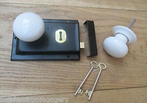 CLASSIC OLD ENGLISH RIM DOOR LOCK AND KNOB HANDLE SET- White ...