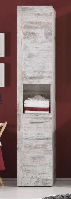 Bad Hochschrank Badschrank weiss Pinie Shabby Vintage Retro Badezimmer Cancun