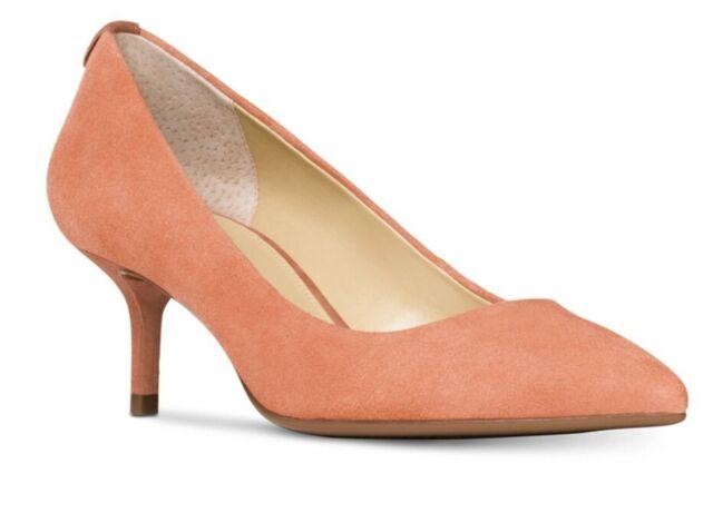 Size 9 5 Michael Kors MK Flex Kitten Pump Suede Terra Women Shoes Business
