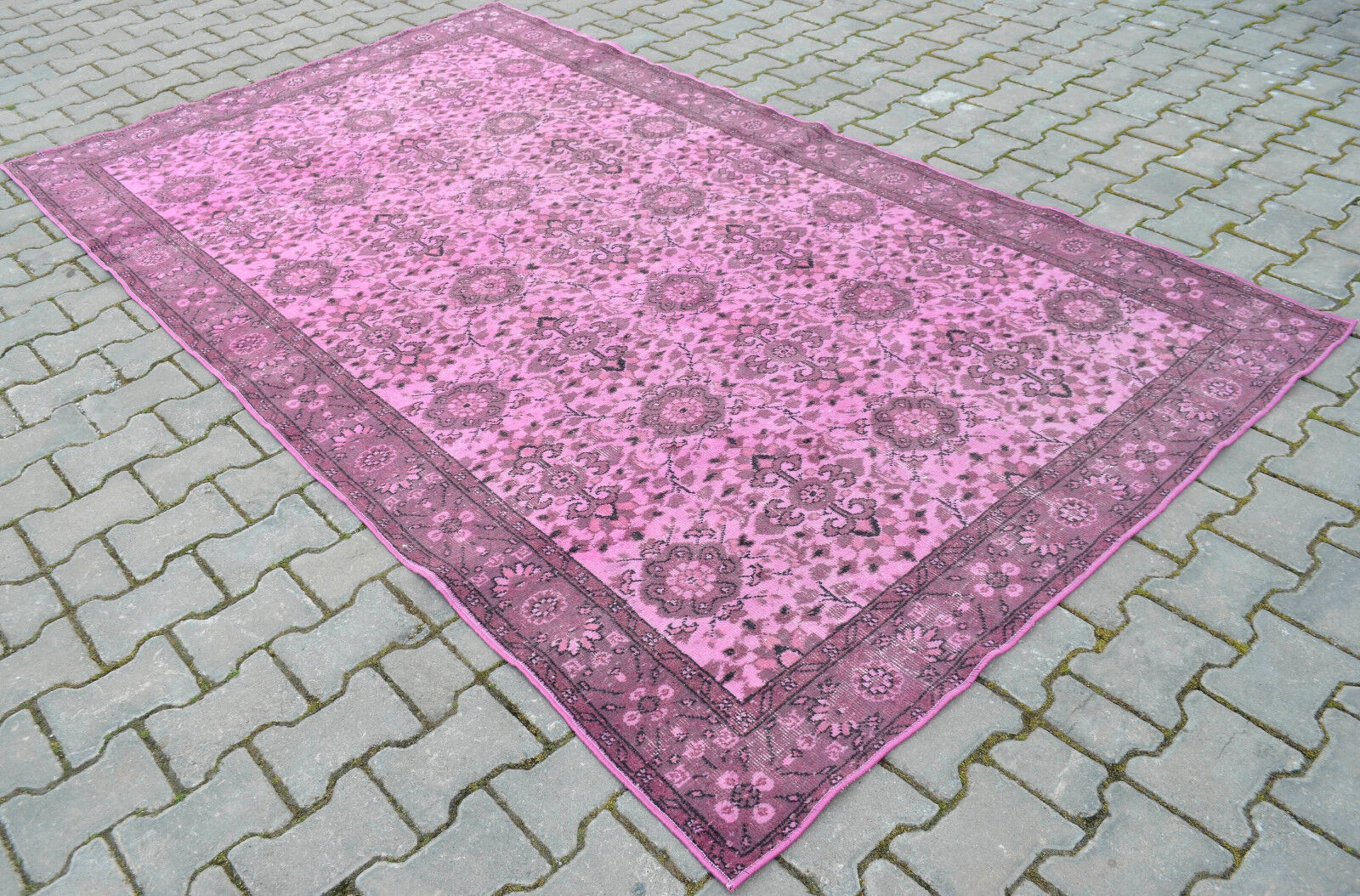 Vintage Turkish Rug Hand Woven Rosa OVERDYED Carpet Actual Actual Actual 67 x 116 inches d3bb6c