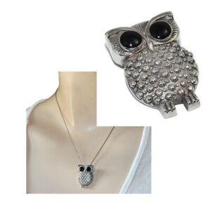 Pendentif-original-en-argent-massif-925-hibou-chouette-yeux-noir-bijou