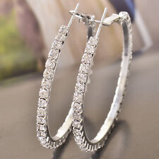 Authentic women silver Gold Filled Crystal Big forever love Hoop Earrings Huggie