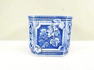 Blue-and-White-Planter-Octagon-Ceramic-Leaf-Design