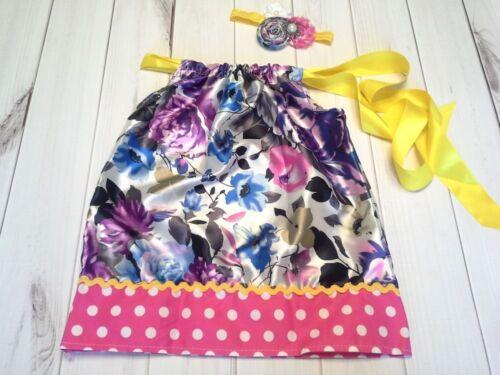 satin floral pillowcase dress girls outfit dress headband 12m 18m 2t 3t 4t 5t 6