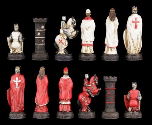 Pezzi degli scacchi Set-crociati bianco e rosso-Cavaliere Medioevo pezzi degli scacchi