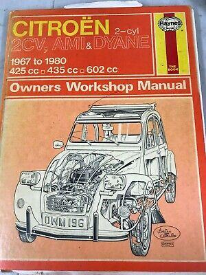 Haynes Workshop Manuale CITROEN 2CV AMI DYANE CV4 1967-1990 Servizio di Riparazione