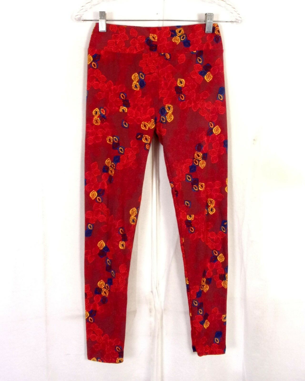 Euc Lularoe soft colorful Dark Red Geometric Floral Leggings Spandex OS