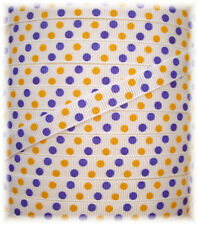 3/8 WHITE YELLOW GOLD PURPLE PIN CHEER DOTS GROSGRAIN RIBBON 4 HAIRBOW BOW 5YD