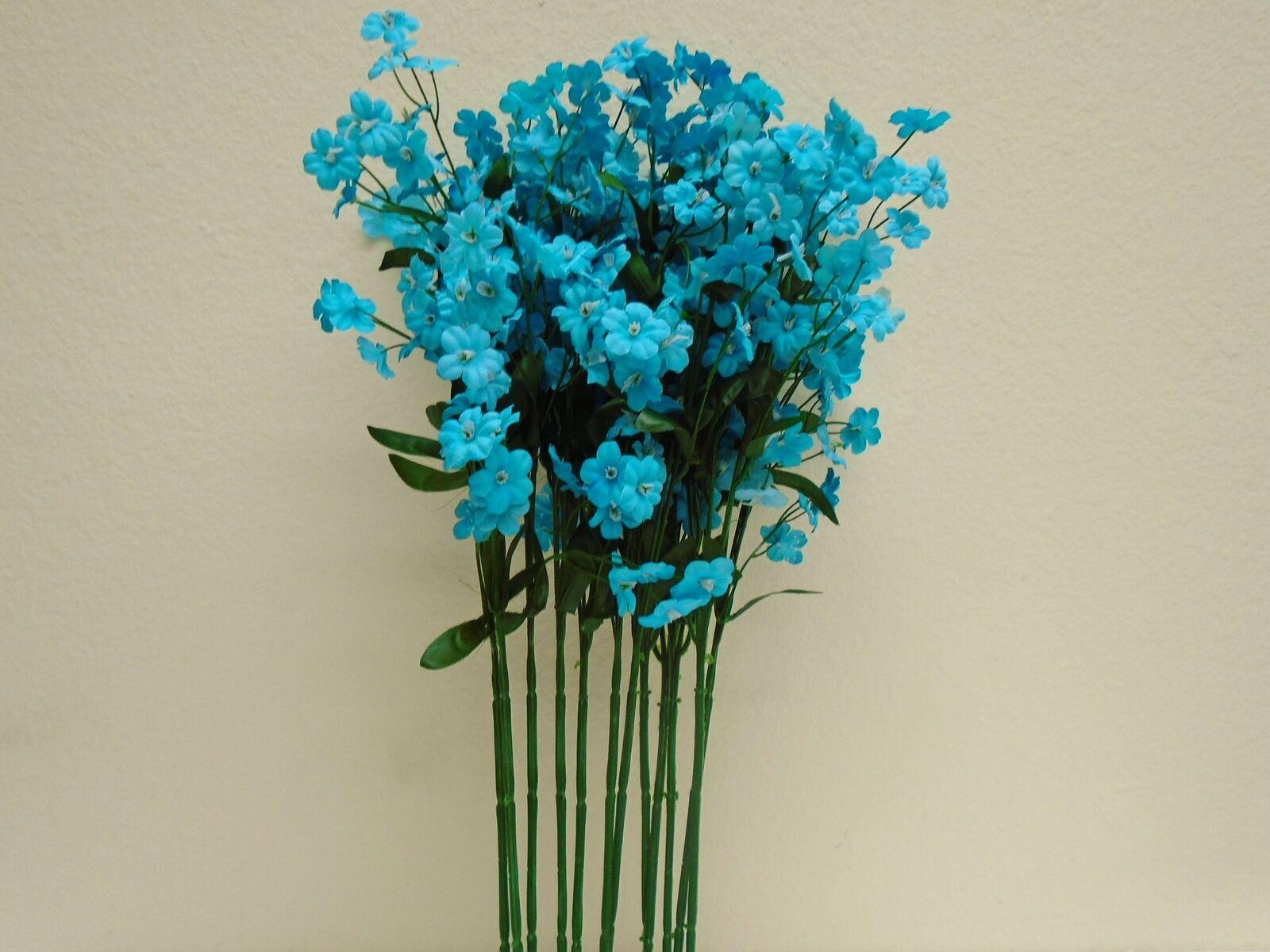 6 x ARTIFICIAL PALE MID BLUE GYPSOPHILA SPRAYS  WIRED STEMS 28cm