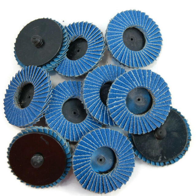 "10pcs 2/"" 60 Grit Blue Flap Sanding Disc Wheels Type  Threaded Lock"