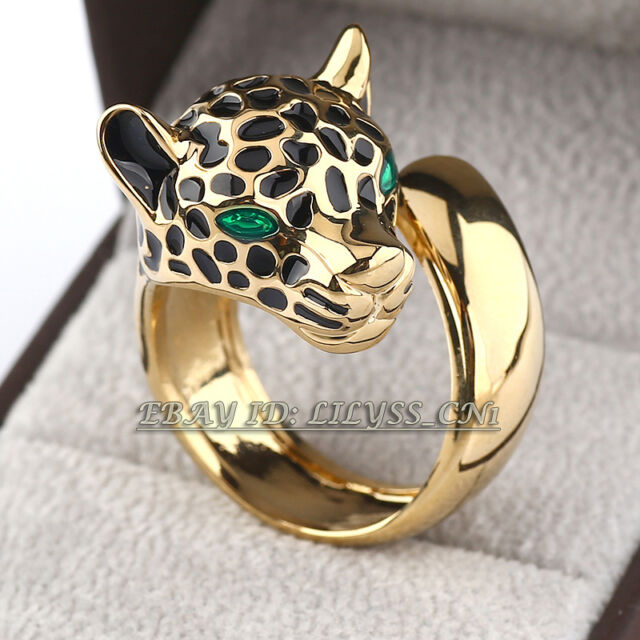 Fashion Leopard 18KGP Ring CZ Rhinestone Crystal Size 5.5-9