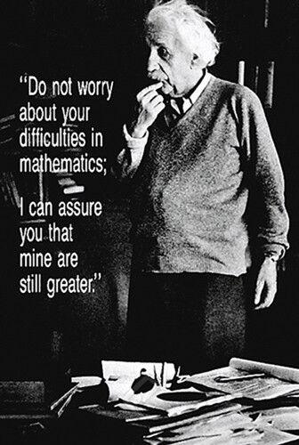 Albert Einstein DIFFICULTIES IN MATHEMATICS Math Science Humor Classic POSTER