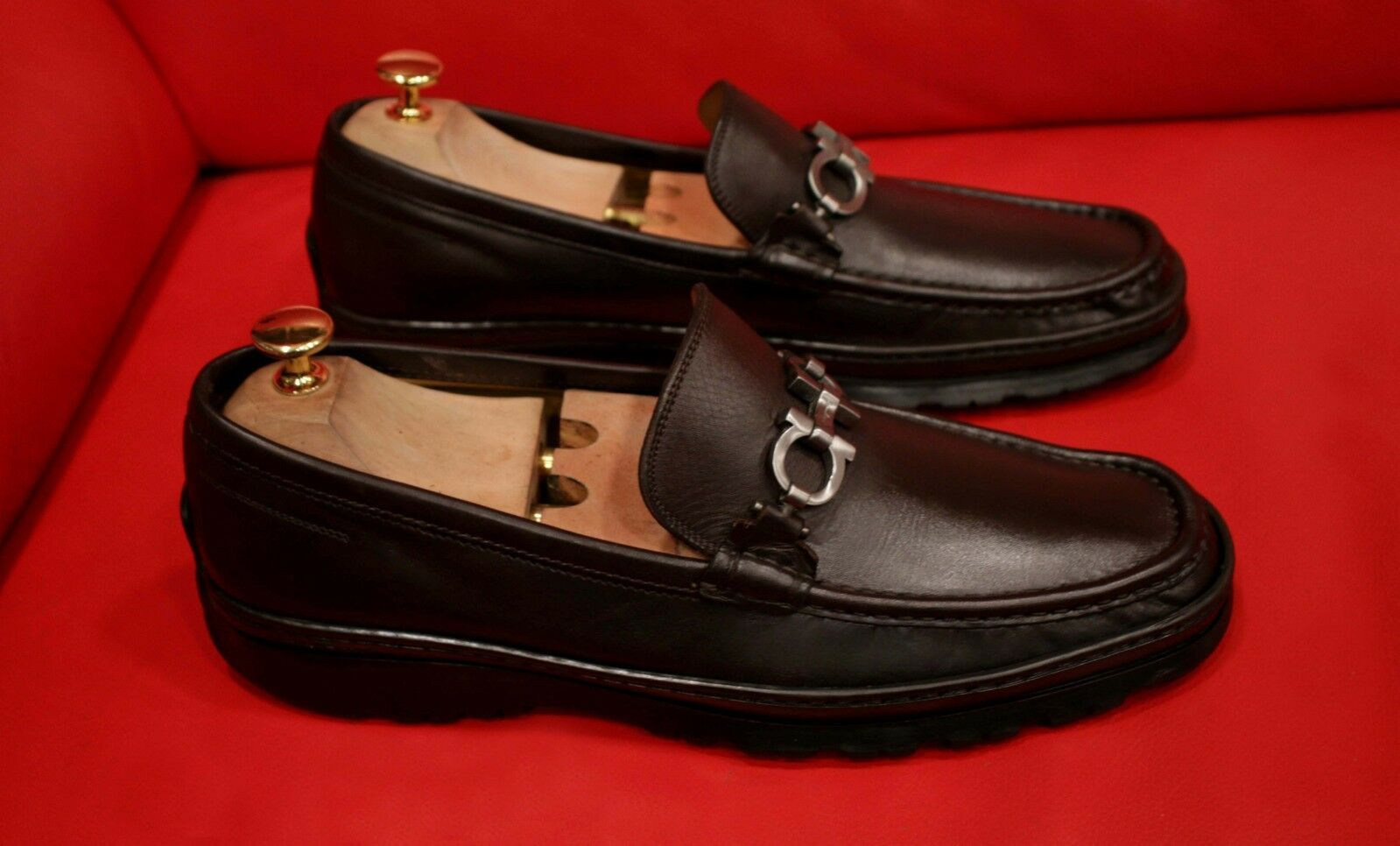 FERRAGAMO UNIQUE BROWN BITS DRESS SLIP-ON LOAFER SHOES SIZE 9.5 D
