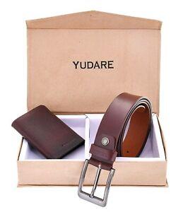 Genuine-Leather-Men-039-s-Stylish-Wallet-amp-Trendy-Jean-Belt-Brown-Combo-Gift-Set
