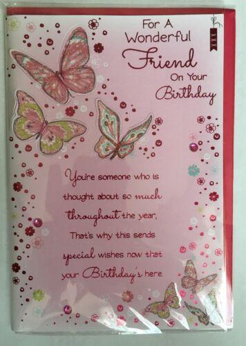 Pour un merveilleux ami sur votre Anniversaire Pop out Papillons Carte D'Anniversaire