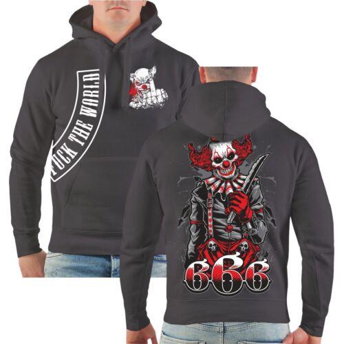 Kapuzenpullover Fuck the World 666 Devil black Clown Joker Patch Hardcore Hoodie