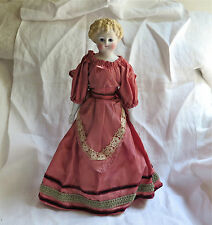 """Antique Doll Parian Porcelain in Taffeta Dress Petticoat and Bloomers 1800's 12"""""""