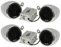 4) Boss Mc400 3 1200w Motorcycle/atv/bike Audio Amplified Waterproof Speakers on Sale