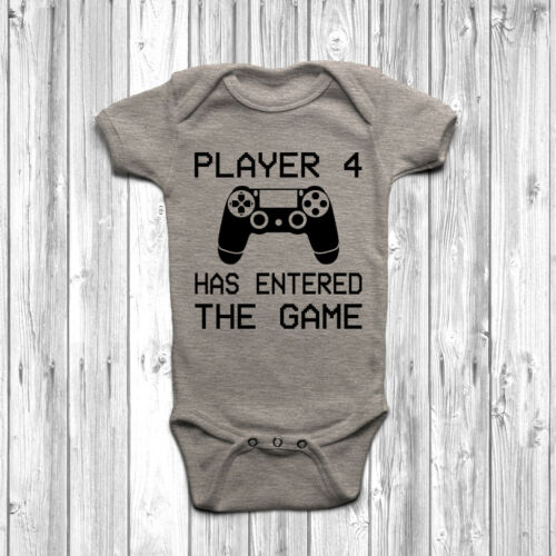 Player 4 Has Entered The Game Baby Grow Body Suit Vest Funny Geeky Humour PS
