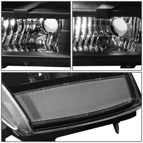 For 07-14 Chevy Tahoe Suburban Black Housing Clear Corner Headlight Replacement