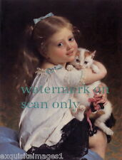 1882~Sweet Young Girl Holding Kitten~Cat~Cats~Kitty~Kittens~NEW Lge Note Cards