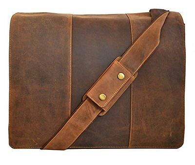 Visconti 16072 Large Tan Leather Messenger Bag Briefcase 13.3 inch Laptop Case