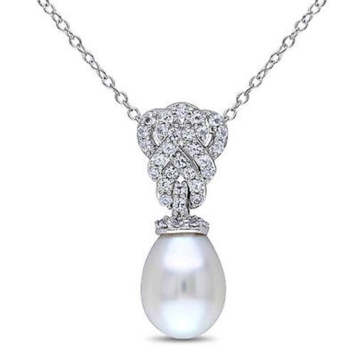 "Sterling Silver 9-9.5 MM Perle Et Blanc Saphir Goutte Collier Pendentif 18/"""