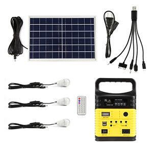 Solar Panel Battery Bank >> Solar Panel Lighting Kit Charger 10w Generator Power Inverter 3 Led