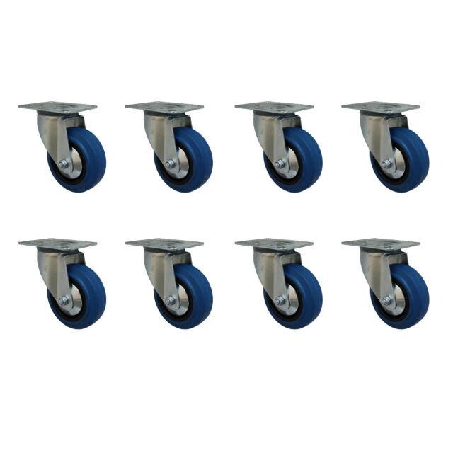 8 Stück 80 mm Blue Wheels Elastik Rollen als Lenkrollen Transportrollen 1A