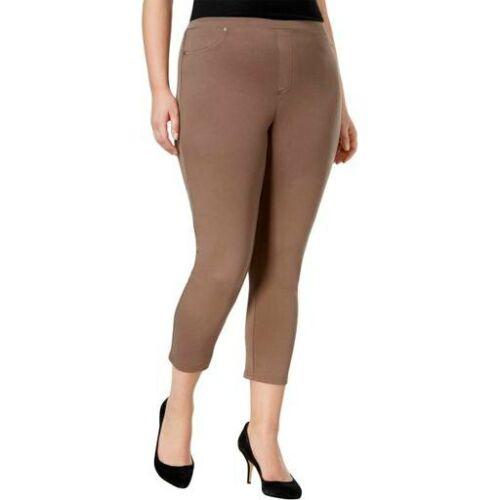 Style /& Co Plus Size Comfort Waist Mid Rise Capri Leggings 1X Brown Clay #804