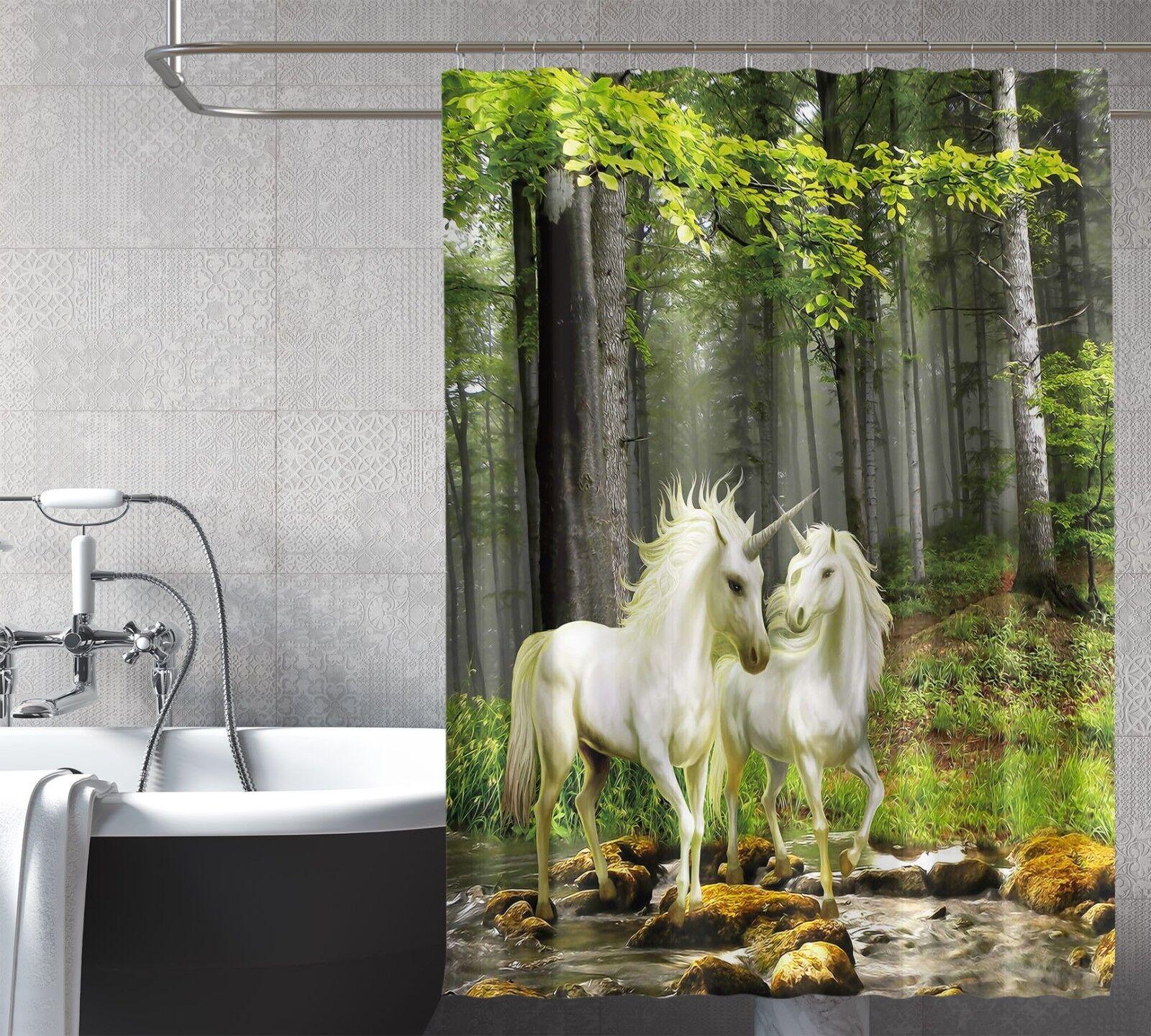 3D Unicorn Tree 123 Tenda da doccia IMPERMEABILE Fibra Bagno WC CASA FINESTRE