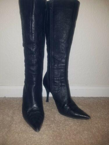 Stiletto's Knee Sexy 36 echt Europa Zwart leer Fashion Geborduurde 6 laarzen qvd4UwX