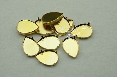50 PCS 20mm x 30mm Tear Drop Jewels's Settings For Sewing On Golden
