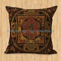 Us Seller- Cushion Cover Tibetan Buddhism Mandala Decorative Pillow Covers