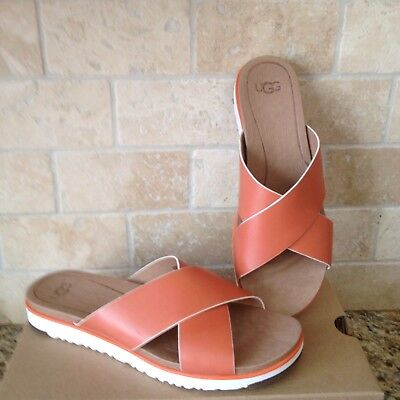 904b0b29d47 UGG KARI FIRE OPAL RED ORANGE LEATHER SLIDE FLIP FLOPS SANDALS SIZE ...