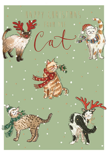 Happy Christmas From The Cat Xmas Greeting Card Cats Cards Christmas