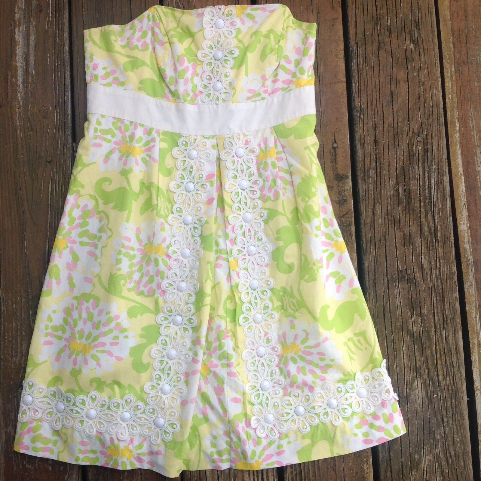 Lilly Pulitzer Jubilee Grün Gelb floral dans les feuilles bustier robe 2 bead