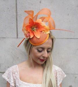 Image is loading Orange-Sinamay-Lily-Rose-Flower-Feather-Hat-Fascinator- eff7edbf65f