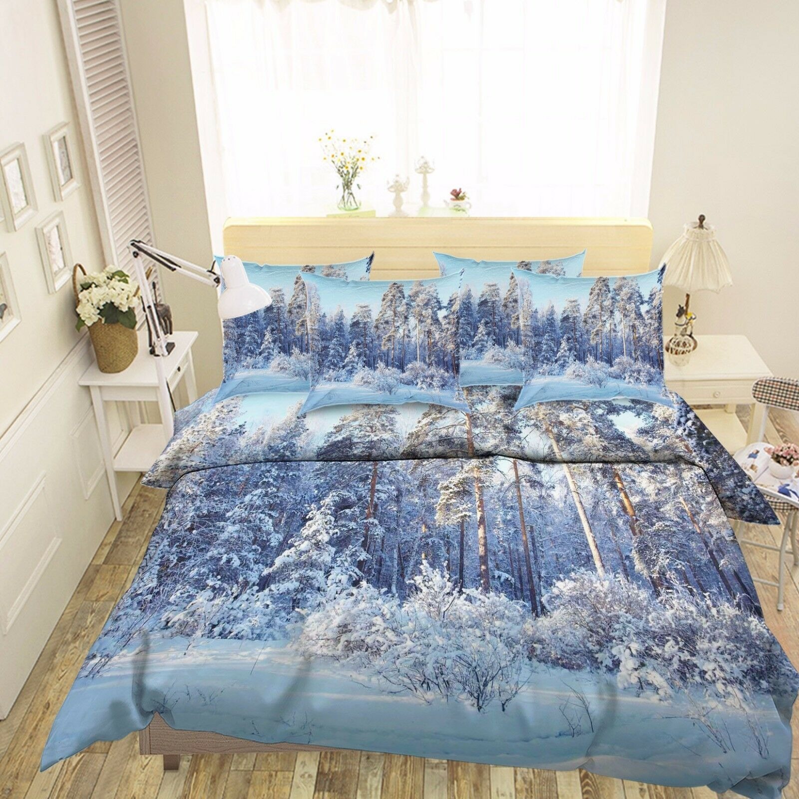 3D Snowy Woods 74 Bed Pillowcases Quilt Duvet Cover Set Single Queen AU Lemon