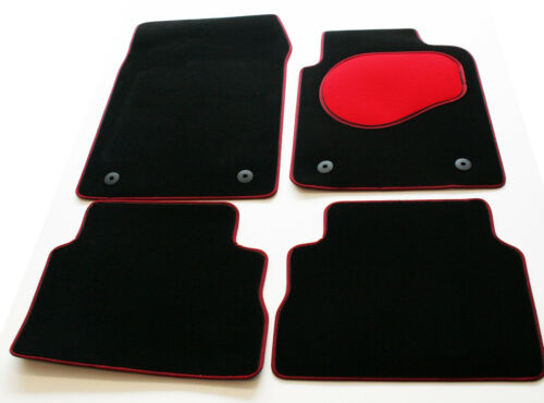 Chrysler Ypsilon 12> Tailored Black Carpet Car Mats - Red Trim & Heel Pad