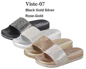 9c4487f4bdd New Womens Jeweled Rhinestone Open Toe Slide Flat Sandal Shoe Flip ...