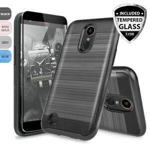 For-LG-Rebel-Phoenix-Aristo-2-3-4-Plus-Case-Brushed-Armor-Black-Tempered-Glass