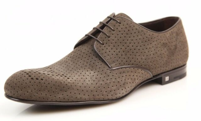Louis Vuitton Green Oxford Perforated Suede Dress Shoes LV 7.5 US 8.5 NEW