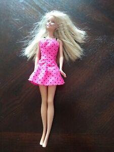 Blonde Blue Eyed 1999 Barbie Pink Polka Dot Dress