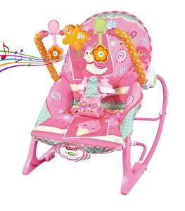 Baby Rocker Bouncer Reclining Chair Soothing Music Vibration with Toys 0M+ 826635088493