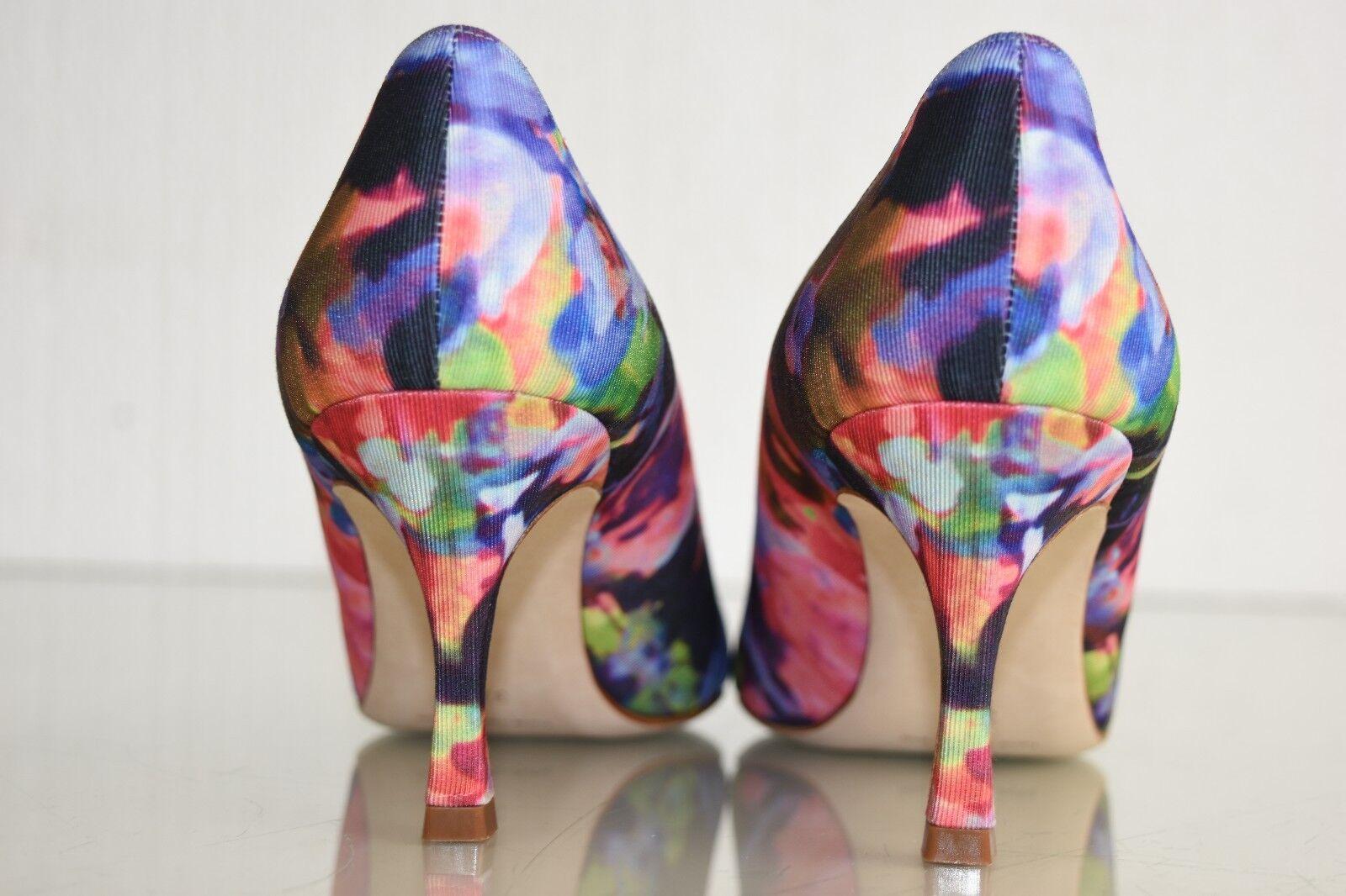 New MANOLO Pink BLAHNIK BB Pumps Floral Pink MANOLO blau Purple Heels Patent schuhes 37.5 40.5 cafe44