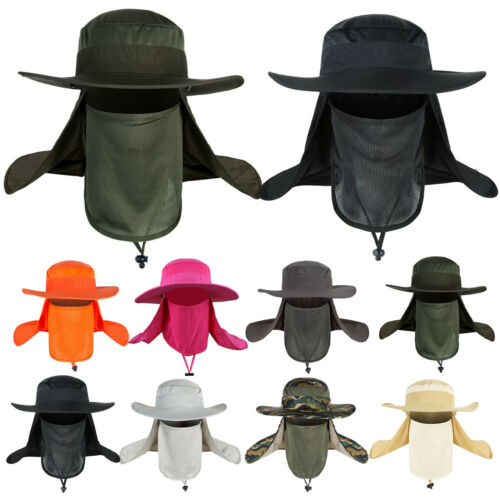 Jungle Fishing Hat Cap Face Neck Cover Flap Wide Brim Sun Protection Men Women
