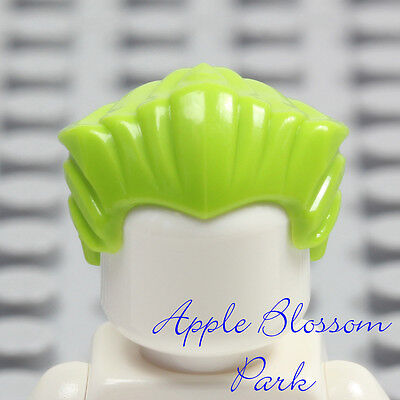 Short Swept Back Widows Peak Joker Head Gear NEW Lego Minifig Lime GREEN HAIR